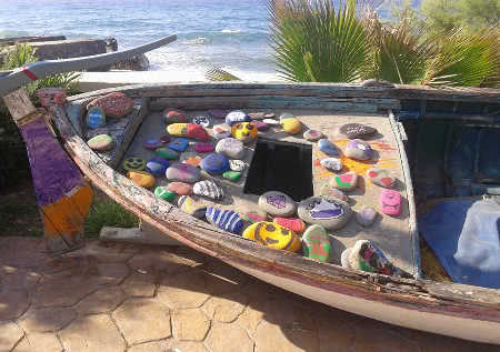 Fishing boat with children crafts